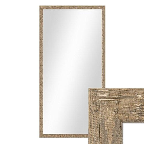 PHOTOLINI Wand-Spiegel 56x106 cm im Holzrahmen Strandhaus-Stil Eiche-Optik Rustikal/Spiegelfläche 50x100 cm