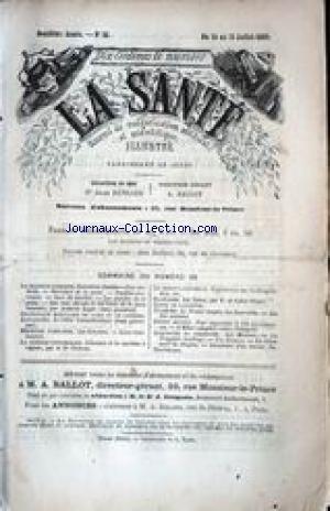 SANTE (LA) [No 38] du 15/07/1869 - LA MACHINE HUMAINE - ARISTIDE ROGER - STATISTIQUE MORTUAIRE DE PARIS ET DE LONDRES - LES GERCURES - DR CHEREAU - LES NAINS PAR V. DE SAINT-VICTOR - L'ETHER CAMPHRE CONTRE L'ERISIPELE - LES MINEURS.