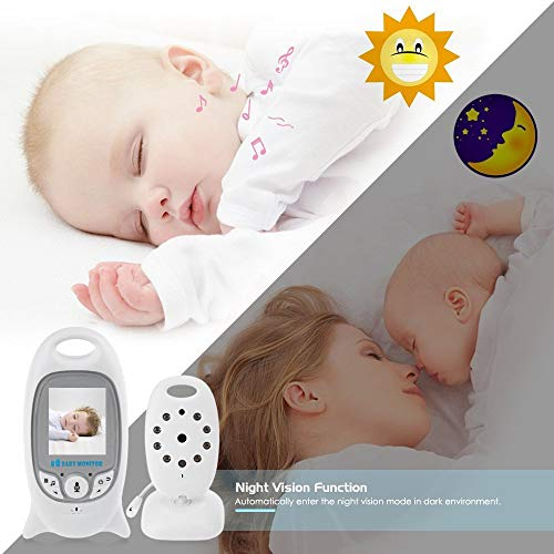"""Flybiz Wireless Baby Video Monitor with Digital Camera, 2.0"""" LCD Display Screen Baby Lullaby Night Vision Temperature Monitoring 2 Way Talk, Babyphone,Nanny,Pets Surveillance for Home Security System"""