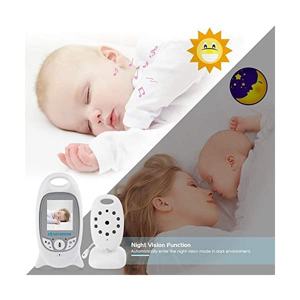 """Flybiz Wireless Baby Video Monitor with Digital Camera, 2.0"""" LCD Display Screen Baby Lullaby Night Vision Temperature Monitoring 2 Way Talk, Babyphone,Nanny,Pets Surveillance for Home Security System Flybiz Reliable 2.4 GHz FHSS Wireless Technology - This baby monitor gives you great peace of mind when your little ones are asleep upstairs and you are downstairs. Privacy and security are 100% ensured. Temperature Monitoring and LED Night Vision - You can measure the temperature around your baby easily using the baby monitor.The night vision will turn on automatically when you put the camera in the dark. 2 Way Talk Back - With the two-way communication function, parents can speak soothing words to babies and put baby at ease when babies getting agitated at night. 6"""