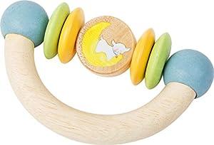 """Pequeño pie bebé 10514 de madera de juguete en forma de media luna con elementos giratorios de colores pastel y el diseño de la dulce oveja """"Lotta"""", hecho de material resistente a la saliva y colorido"""