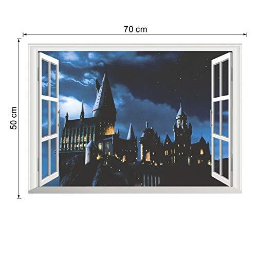 41QVO1FGHtL - 3d ventana castillo etiqueta de la pared decal harry potter pvc tatuajes de pared cartel mural arte decoración para el hogar