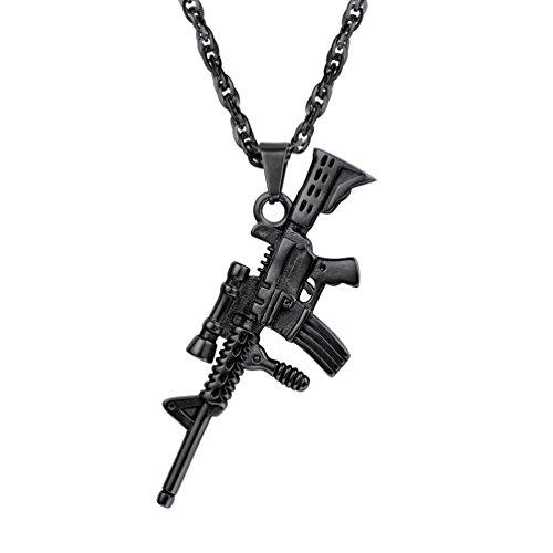 M16A4 Anhänger Halskette PROSTEEL Armee Gewehr Design Anhänger mit 60cm Kette Biker Punk Hip Hop schwarz Metall Herren Schmuck, schwarz - Armee Design