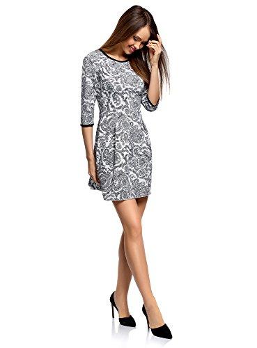 oodji Ultra Damen Jersey-Kleid mit Faltenrock Weiß (1229E)