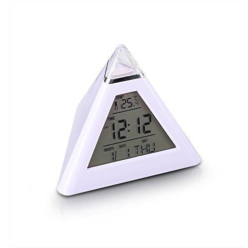 7 LED-Farbe ändern wachsende LED-Pyramide-Digital-Wecker mit Kalender-Thermometer-Schreibtisch-Taktgeber