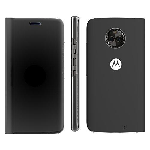 Lenovo Touch Flip Schutzhülle Transparent Shell stoßfest und Edge Folio Flip Schutzhülle für Motorola Moto X4-Grau