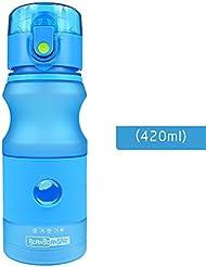 Moolecole Agua Taza Straightly Bebida Adulto Estudiante Deportes Agua Botella Plástico Portable Mano Taza Aptitud Jeta 420ml Azul