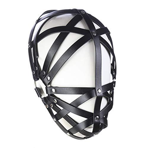 ener Leder aushöhlen Kopfbedeckung verstellbare Kapuze schablonen-Partei-kostüm-stützen einheitsgröße schwarz ()
