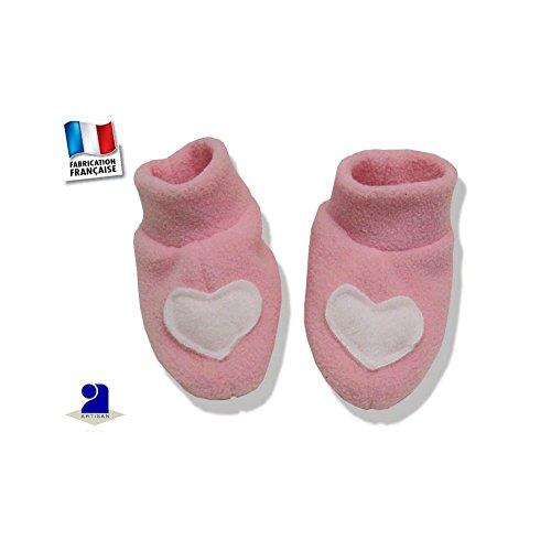 2508b04b12395 Poussin Bleu - Chaussons bébé polaire rose Couleur - Rose