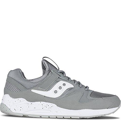 Saucony Uomo Cream & Rosso Grid 9000 Sneakers Grey   White