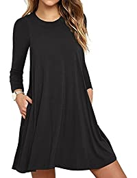 HAOMEILI Women's Sleeveless Long Sleeve Pockets Casual Swing T-Shirt Summer Dress