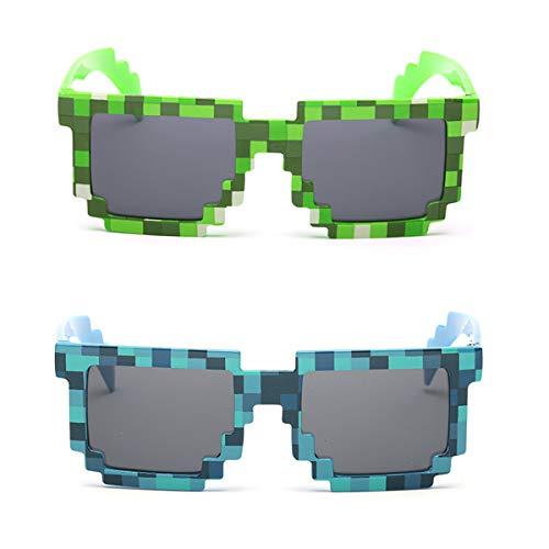 kilofly Sonnenbrille, 8-Bit Pixel, UV-Schutz, für Erwachsene und Kinder, 2 Stück Gr. Einheitsgröße, Green + Blue (Minecraft Kostüm Haut)