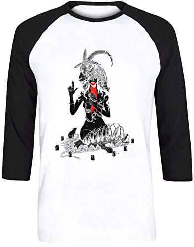 Nein Gott Aber Dich Herren Weiß Schwarz Baseball T-Shirt 3/4 Ärmel Größe S | Men's White Black Baseball T-Shirt Size S