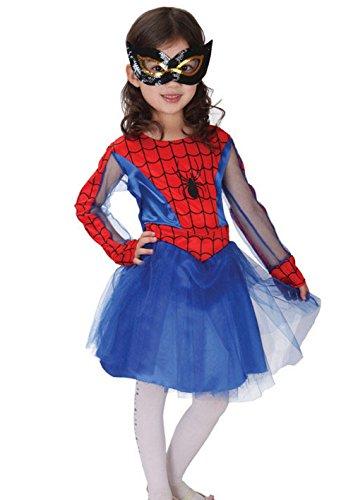 Spider Girl Kostüm für kinder Karneval Halloween Cosplay (Größe XL - 7/8 - Berühmte Für Halloween-kostüme Zeichen