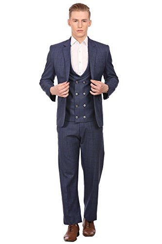 Wintage Men's PV Merino Wool Blended Notched Lapel Blue 3-Pc Suit