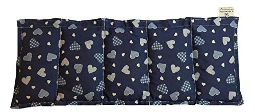 Körnerkissen Kühlkissen Wärmekissen 50x20cm Dinkelkissen Herzen blau 100% Baumwolle
