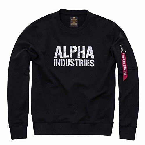 Alpha Industries Camo Print Sweater, Baumwolle Polyester Mischung, Sweatshirt mit Alpha Industries Druck in camoflage, gute Passform Neu, Größe:XL;Farbe:black/white (Camo Mischung)