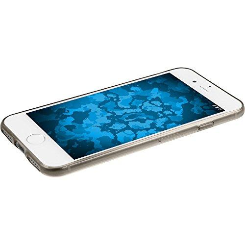 PhoneNatic Case für Apple iPhone 7 Hülle Silikon grau Slimcase Cover iPhone 7 Tasche + 2 Schutzfolien Grau