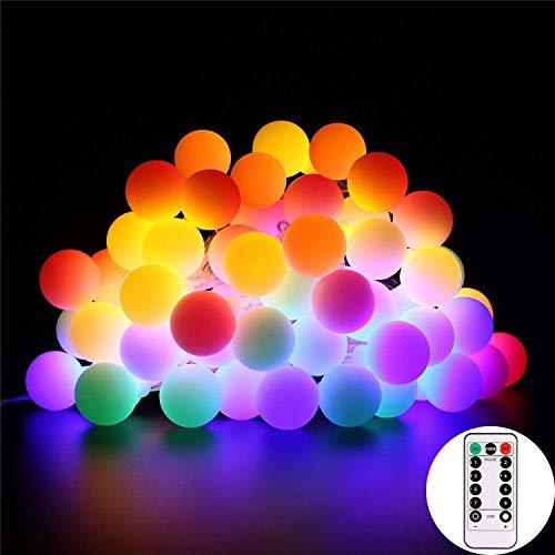 Lucine led decorative, b-right 5,5m 50 led rgb multicolore globi luminosi, lucine decorative a batteria per interno/esterno con telecomando, luci colorati per natale, matrimoni, albero di natale ecc.