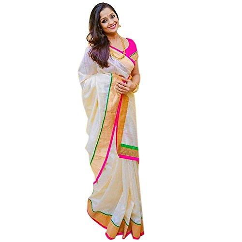 Ansh Boutique Women's Art Cotton Silk Saree With Blouse Piece Wedding(White Green Pink)