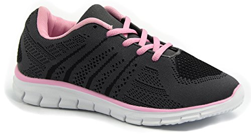 Knixmax Damen Sportschuhe Leichtes Sneaker Wasserdicht Atmungsaktiv Turnschuhe Outdoor Fitnessschuhe Schnür Laufschuhe (Mid-heel Leder-einlegesohlen)