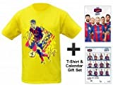 FC Barcelona (La Liga) 2017 Soccer Calendar & Neymar Jr T-Shirt Gift Set