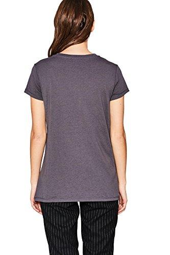 edc by ESPRIT Damen T-Shirt Grau (Gunmetal 015)