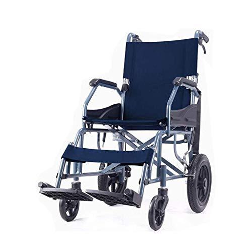 STOUBYT FURNITURE CASA Faltbarer Leichtgewicht-Rollstuhl für Ältere Menschen mit Behinderung Kleiner, Ultraleichter, Tragbarer Reiserollstuhl, Blau, 89x57x94cm