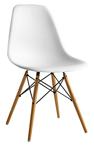 Mmilo High Quality Retro Designer Style Eiffel Inspired Side Dining Chair Lounge Living Room Office Chair (White)