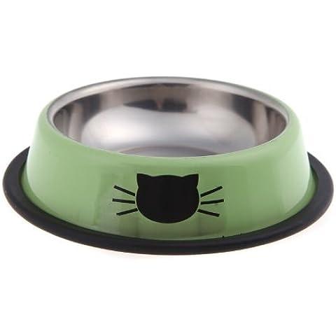 EchoAcc® Tazón de Acero Inoxidable de Alimentos con Bordes de Goma Antideslizante, para los Pequeños Animales Domésticos, Perro / Gato y Otros (Verde)