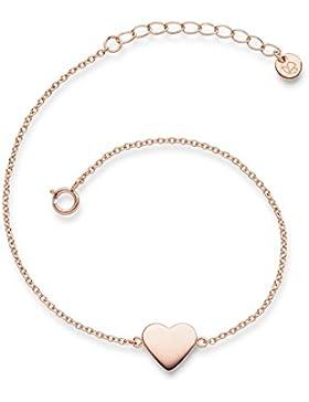 Glanzstücke München Damen-Armband Herz Sterling Silber rosévergoldet 17 + 3 cm - Armkettchen mit Herz-Anhänger...