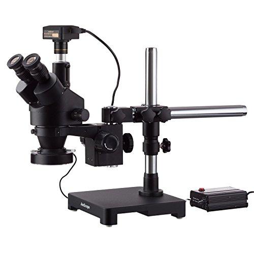 amscope 7x 114x schwarz Trinokular Stereo Zoom Mikroskop auf Single Arm Boom Ständer mit schweren Pflicht 80-led Ring Light & 5MP USB 3.0Digital Kamera