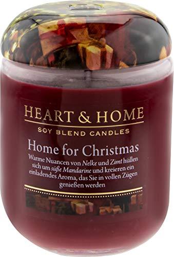 Heart & Home Duftkerze Home for Christmas, frischer & fruchtiger Duft nach Mandarine, Zimt &...