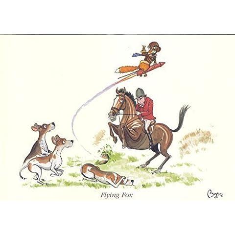 Bryn Parry 'zorro Volador' caballo/Caza greeeting/tarjeta de agradecimiento - interior en blanco para escribir tu mensaje y incluye un