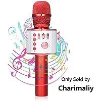 Bluetooth Microfono Karaoke, NASUM Microfono Portatile per Voce e Canto Registrazione, per Adulti e Bambini Compatibile con Android/iOS, PC o Smartphone (ROSSO)