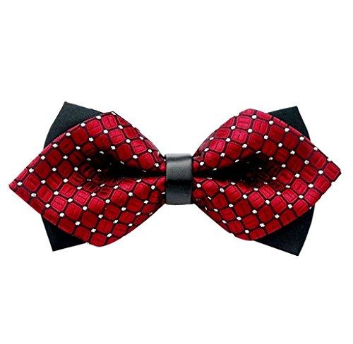 Ularma Unisex moda clásica fiesta fiesta de bodas de lujo corbata de lazo de corbata de pajarita ajustable (talla única, rojo)