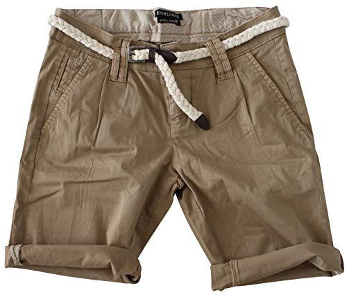Jeans Bermuda Short by Boyfriend Look tiefer Schritt Jeansbermuda mit Kontrastnähten Washed Kurze Hose (M, Naturale Beige) ()