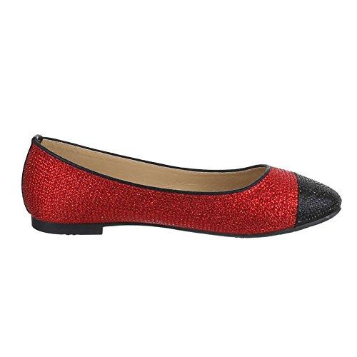 Damen Schuhe, JA10122, BALLERINAS PUMPS Rot