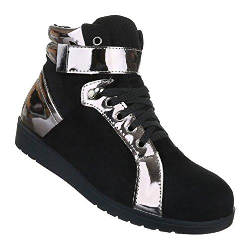 Sapatilha Senhoras Sapatos, Sapatos De Lazer Corredor De Alta Topo Cinzento Escuro Schnürer Preto 36 37 38 39 40 41