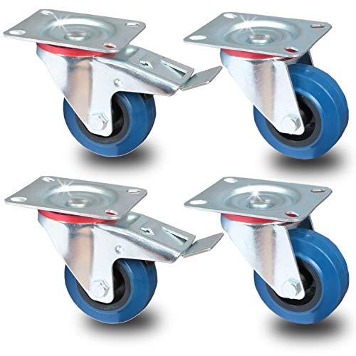 PRIOstahl® Transportrollen Lenkrolle - Lenkrolle mit Bremse blau | 80mm| blue wheels | (SET 4 Rollen) | 2 Stück Lenkrolle - 2 Stück Lenkrolle mit Bremse