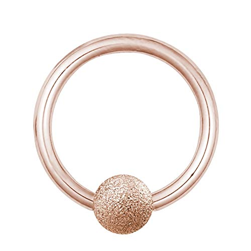 Treuheld   KLEMMKUGEL-RING in Rose-Gold - Diamant-Optik MATT - 12 Größen - BCR Piercing (Ball Closure Ring) - Klemm-Ring mit matter (sandgestahlter) Kugel - Edel-Stahl [03.] - 1.2 x 10 mm (Kugel: 3mm)