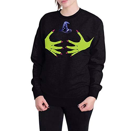 (Halloween-Kostüm-Frau 3D-Geisterbild Halloween Langarm Pullover Oben- Lässige O Neck Tops -Pulli Rollkragen Sweatshirt Kapuzenpulli-Jumper Oberteile - Damen Pulli T-Shirt(Schwarz,XL))