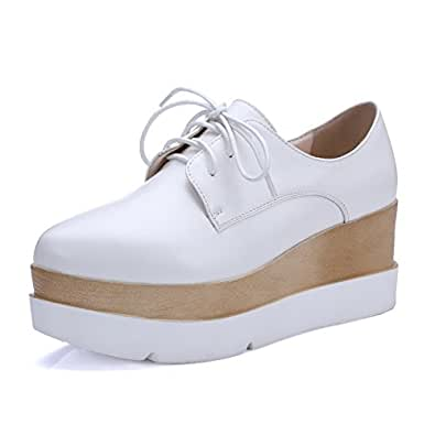 BalaMasa Girls Round-Toe Preppy Style White Soft Material Pumps-Shoes - 4.5 UK