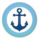 Kommodenknauf Möbelknopf Möbelgriff Möbelknauf Jungen hellblau dunkelblau blau Massivholz Buche - Kinder Kinderzimmer Anker dunkelblau maritim - mittelblau