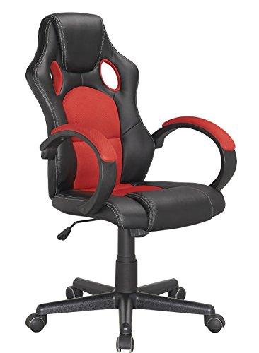 Fauteuil de Bureau Gaming Ergonomique et Confortable - Rouge et Noir - Design siège baquet - Collection Gamer