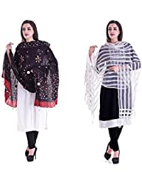 Apratim Women Bhagalpuri Silk & Cotton Dupatta Combo Pack Of 2 Set - B075C4JP91