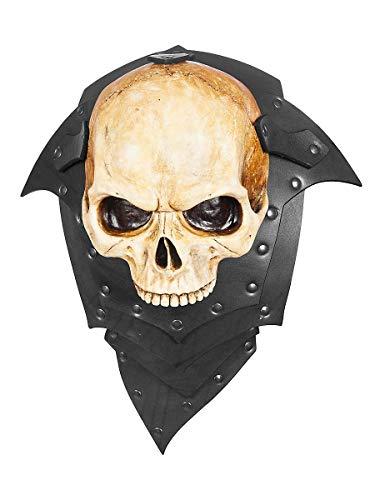 Andracor - Untoten Schulterplatte - Einzelne Lederschulter für Linke Seite mit Schädelverzierung - Schwarz - Zubehör LARP Cosplay & Wikinger (Untote Wikinger Kostüm)