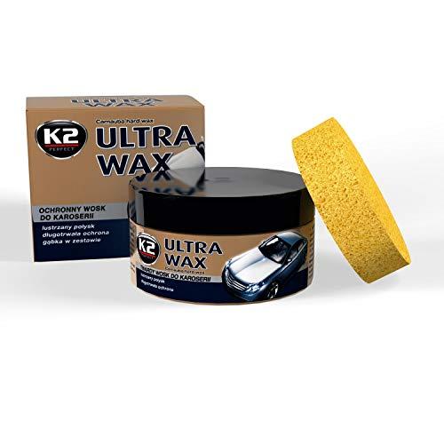 K2 Ultra Wax, Carnauba Wachspaste mit Schwamm, Hartwachs, Autowachs 250g