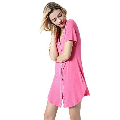 5d346e2e2d3f99 Yuncai Damen Kurzarm Lang Nachthemd V Kragen Weich Gemütlich Nachtwäsche  Rose XL