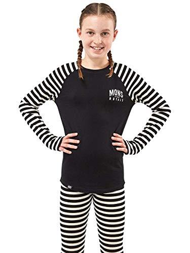 Mons Royale Mädchen Groms Ls, Black/Thick Stripe, 8 | 09420057412068